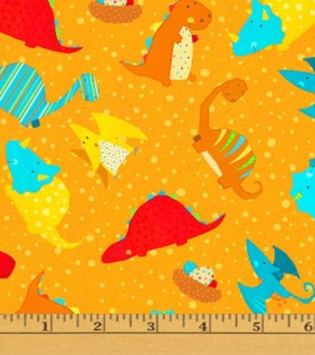 Cotton dinosaurs triceratops stegosaurus pterodactyls for Childrens cotton fabric by the yard