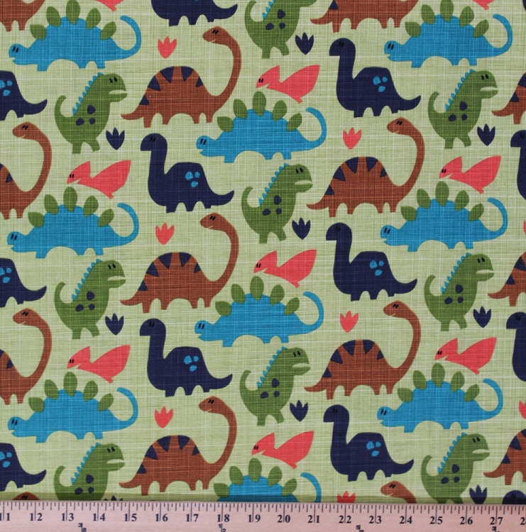 Cotton old friends dinosaurs dinos t rex animals kids for Animal print fabric for kids