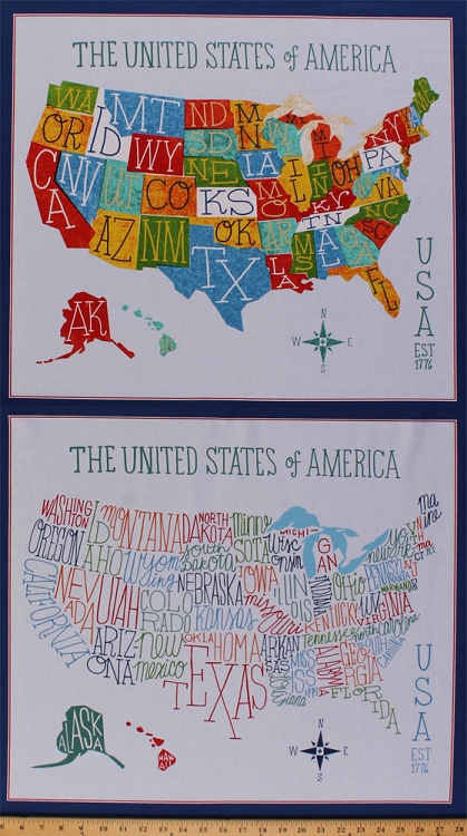 235 X 44 Panel Explore America USA State Name Abbreviations