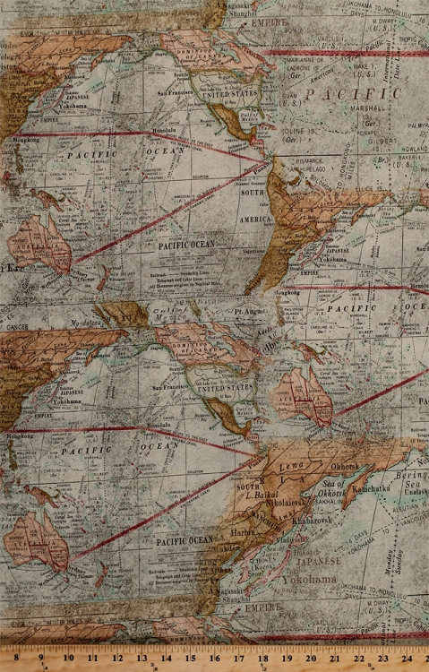 Cotton expedition world map maps north south america australia cotton expedition world map maps north south america australia western hemisphere pacific ocean routes vintage cotton fabric print by the yard pwth016 sciox Gallery
