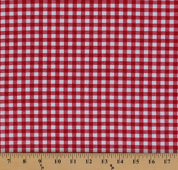 Cotton Red Gingham Picnic Tablecloth Cotton Fabric Print By The Yard  (8448g 3m)