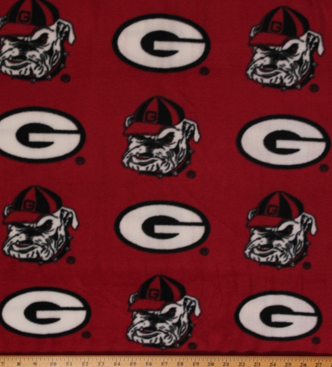 fleece university of georgia bulldogs red print college fleece fabric by the yard red. Black Bedroom Furniture Sets. Home Design Ideas