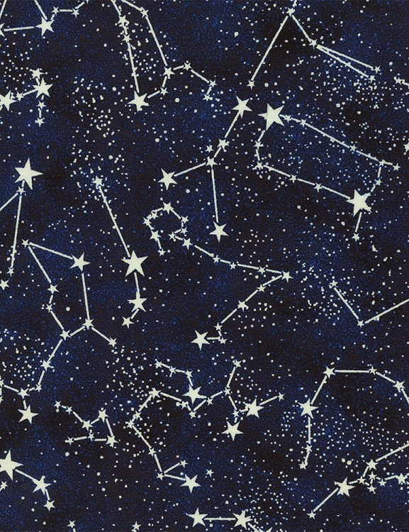 Cotton glow in the dark constellations stars midnight for Night sky print fabric