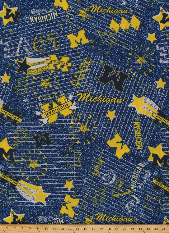 ez spun knit university of michigan wolverines jersey knit blue yellow college knit fabric by. Black Bedroom Furniture Sets. Home Design Ideas