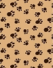 VelvaFleece Paws - Camel background Fleece Fabric Print by the Yard (k1406-4b)