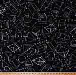 Fleece Geometry Geometric Shapes Chalkboard Drawings 3D Diagrams Equations Formulas Sketches Notes Numbers Algebra Math Mathematics Science School Academic Education Teachers Black Fleece Fabric Print by the Yard (o43435-1b)