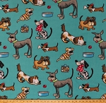 Fleece Funny Dogs Wearing Scarves Sweaters Glasses Puppy Puppies Playing Treats Toys Balls Bones Kids Animals Pets Blue Fleece Fabric Print by the Yard 3698f-2a