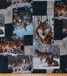 Fleece Wolf Wolves Patchwork Squares Winter Wildlife Canine Animals Nature Outdoors Snowy Scenic Fleece Fabric Print by the Yard WW-0018-MA
