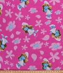 Fleece The Smurfs Smurfette Flowers on Pink Kids Fleece Fabric Print by the Yard 8030-75789-v