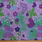 Fleece Butterfly Butterflies Flowers Hearts Stars Children's Girls Purple Fleece Fabric Print by the Yard (5057M-12A-purplebutterfly)