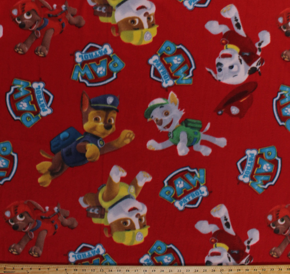 Fleece paw patrol rescue dogs firefighters puppy puppies for Fleece fabric childrens prints