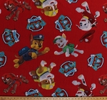 Fleece Paw Patrol Rescue Dogs Firefighters Puppy Puppies Red Kids Fleece Fabric Print by the Yard kpw-4017-ma-1