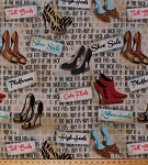 Fleece Sassy Shoes If the Shoe Fits Boots High Heels Shopping Fashion Fleece Fabric Print by the Yard 24394-1