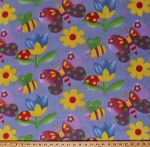 Fleece Butterfly Butterflies Bumblebees Bees Ladybugs Bugs Beetles Insects Spring Flowers Tulips Kids Fleece Fabric Print by the Yard (4844F-11A)
