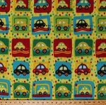 Fleece Cars Taxis Taxi Cabs Vehicles Squares Polka Dots Kids Yellow Fleece Fabric Print by the Yard (5057M-12A-frogs)