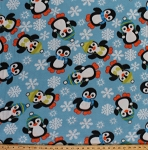 Fleece Penguins Winter Snow Snowflakes Animals Blue Kids Fleece Fabric Print by the Yard 3464s-12n