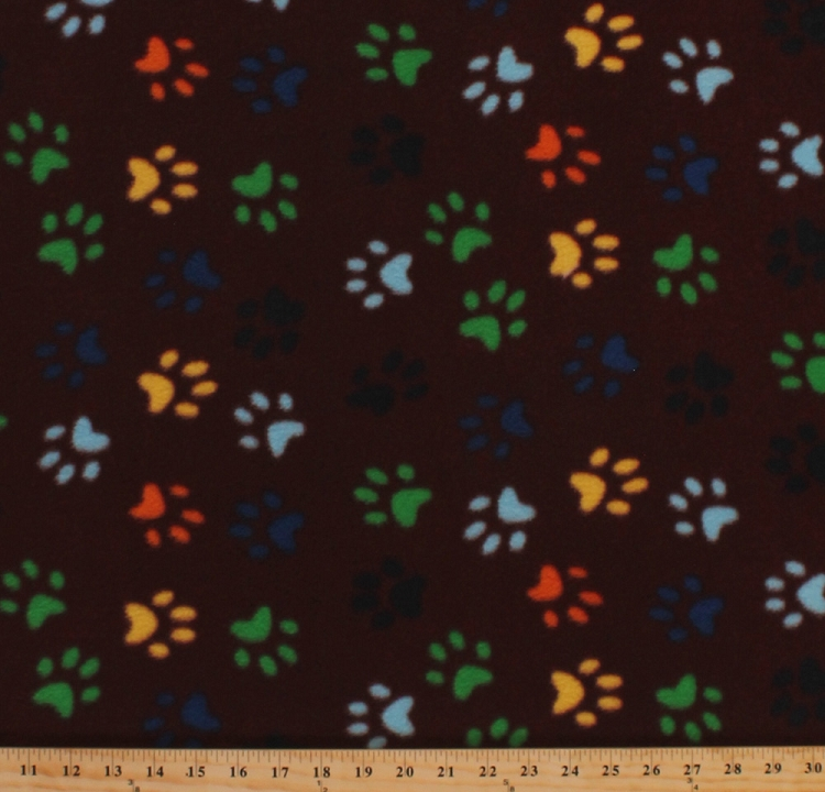 Fleece colorful paws on brown dogs puppies puppy paw for Fleece fabric childrens prints