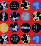 Fleece Mickey Mouse There is Only One Disney Cartoon Characters Names Words Icons Logos Circles on Red Kids Children's Fleece Fabric Print by the Yard (61817-D650710s)