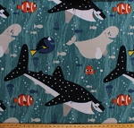 Fleece Finding Dory and Friends Fish Whales Marlin Nemo Bailey Destiny Ocean Blue Fleece Fabric Print by the Yard 57602-1600710s