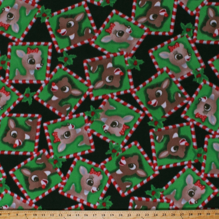 Fleece rudolph and clarice frames squares red nosed for Children s flannel fabric by the yard