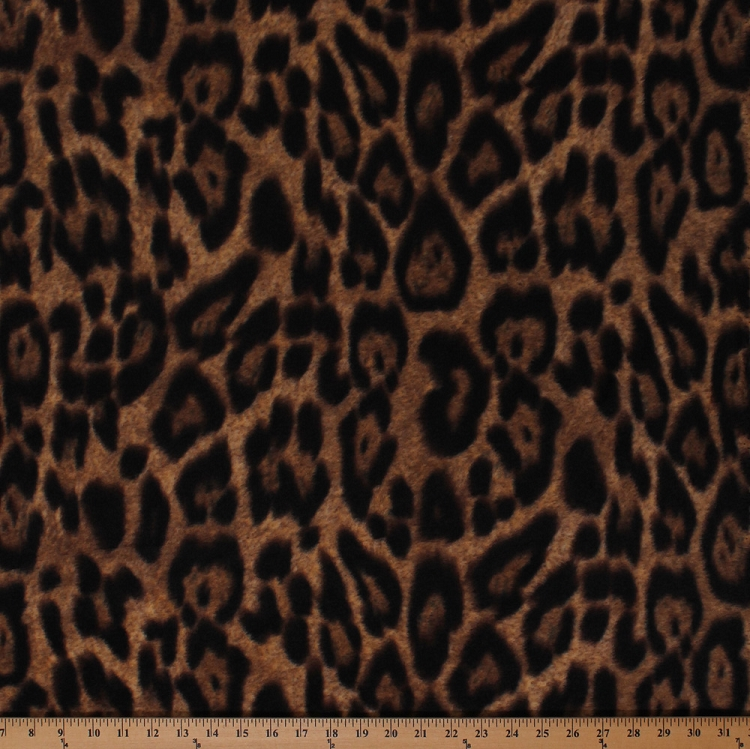 Leopard spots animal print jungle brown fleece fabric for Animal print fabric for kids