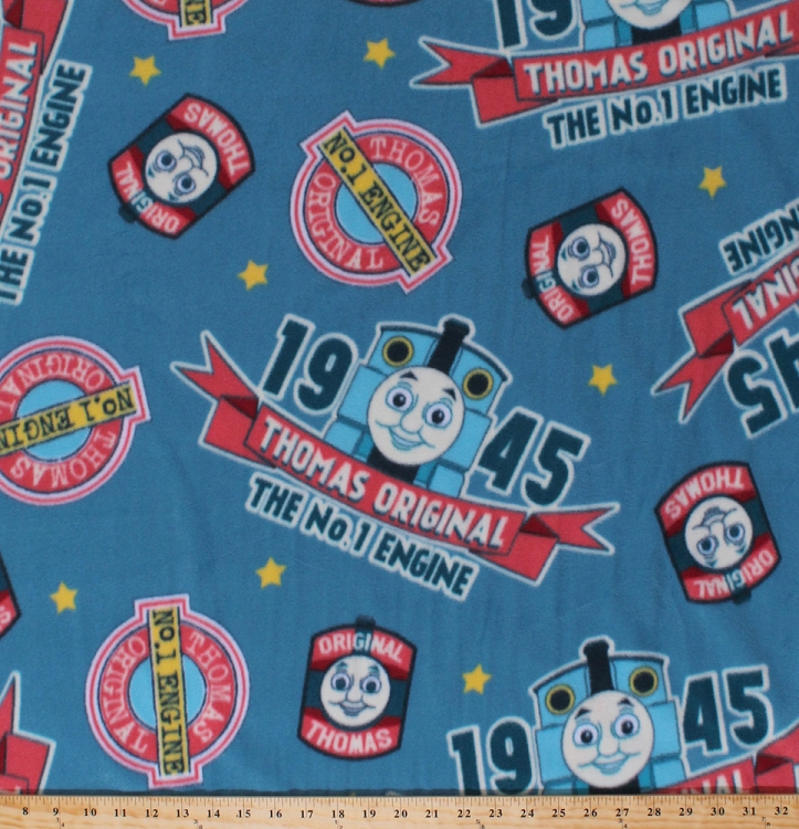 Fleece thomas the train vintage 1945 the original thomas for Children s flannel fabric by the yard