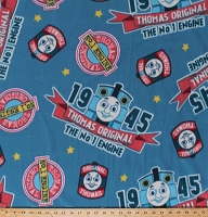 Fleece Thomas the Train Vintage 1945 The Original Thomas Logos Stars Kids Children's Blue Fleece Fabric Print by the Yard 4162M-6A