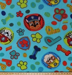 Fleece Paw Patrol Rescue Dogs Chase Marshall Rubble Puppies Circles Paw Prints Bones Puptastic Dream Team Kids Children's Blue Fleece Fabric Print by the Yard PW-4134-6Ad
