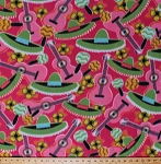 Fleece Mexican Fiesta Sombreros Hats Flowers Guitars Maracas Rumba Shakers Latin Music Musical Instruments Mexico Cinco de Mayo Spanish Party Celebration Pink Fleece Fabric Print by the Yard 6281G-9G