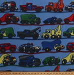Fleece Cars Trucks Vehicles Tow Trucks Dump Trucks Police Cars Ambulances Kids Children's Boys Blue Fleece Fabric Print by the Yard (4844F-11A-blue)
