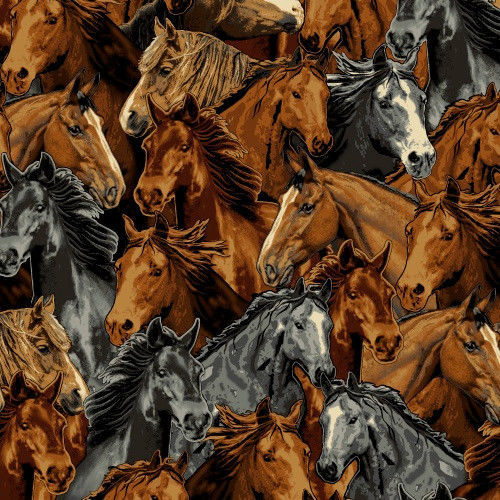 Packed horse horses running stallion steed fleece fabric for Horse fabric for kids