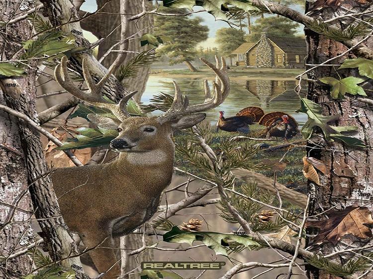 Fleece Realtree Deer And Turkey Panel Cabin Trees Woods