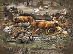 Fleece Realtree Deer Country Turkey Pheasant Ducks Hunting Wildlife Outdoors Mountains Scenic Fleece Fabric Panel 1545