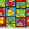 Angry Birds Bird Squares Red Yellow Green Blue on Black Fleece Fabric Print by the Yard - oAB-3066-3A-1d
