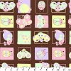 Cute Bugs on Squares Fleece Fabric Print - Chocolate/Pastel adt8630-8a2d
