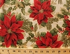 Cotton Red Poinsettias Flowers Holly Leaves Berries Berry Leaf Mistletoe Festive Christmas Floral Winter Holidays Gold Metallic Shimmer Holiday Flourish 6 Cream Cotton Fabric Print by the Yard (aebm-13643-223-holiday)