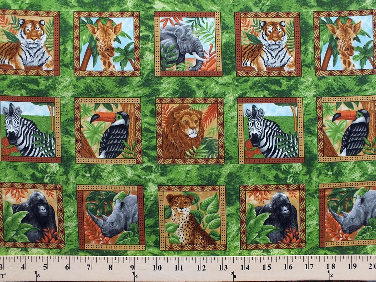 It 39 s a jungle out there animals tiger lion giraffe for Childrens jungle print fabric