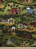 Cotton Country Town Scenes Buildings Church Cafe General Store Apple Orchard Post Office Barns Fields Pastures Hills Trees Sheep Folk Art Rural Farms Yesteryear Scenic Cotton Fabric Print by the Yard (apn-12139-276-country)