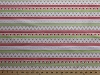 Cotton Holiday Stripe Christmas Winter Holidays Birds Holly Leaves Berries Mistletoe Alpine Wonderland Repeating Stripe (7 Parallel Stripes) Pink and Green Cotton Fabric Print by the Yard (c2905-pink)