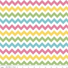 Girl Small Chevron Striped Zig Zags Zigzags Blue Green Yellow Pink Stripes on White Girls Kids Cotton Fabric Print by the Yard (C340-03-Girl)