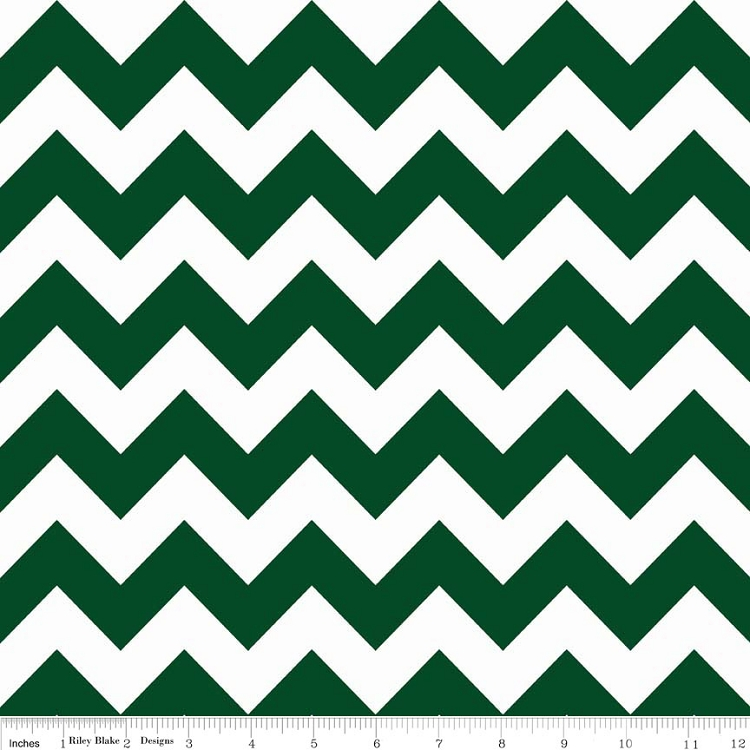 Riley Blake Small Chevron Hunter Green & White Striped Cotton ...