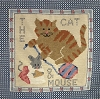Tapestry Square - Cat and Mouse Fabric Print Square - 13-3/8