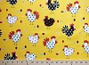 Chicken Rooster Hens Chicks on Yellow Cotton Fabric Print by the Yard