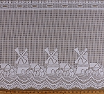 Dutch Windmills Ring Lace Window Lace Valance White Curtain Border Ready to Hang Fabric By the Yard (D170.41)