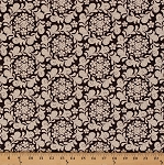 Cotton Meadowsweet Henna Garden Floral Wreaths Cream Flowers on Brown Cotton Fabric Print by the Yard (9085w-9m-brown)