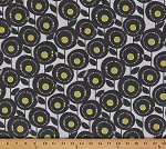 Cotton Aretha Creative Pastel Floral Citron Yellow and Gray Flowers on White Cotton Fabric Print by the Yard (9085w-9m-white)