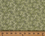 Cotton Vintage Rose Flowers Floral White Roses on Green Cotton Fabric Print by the Yard (8532m-4m-green)