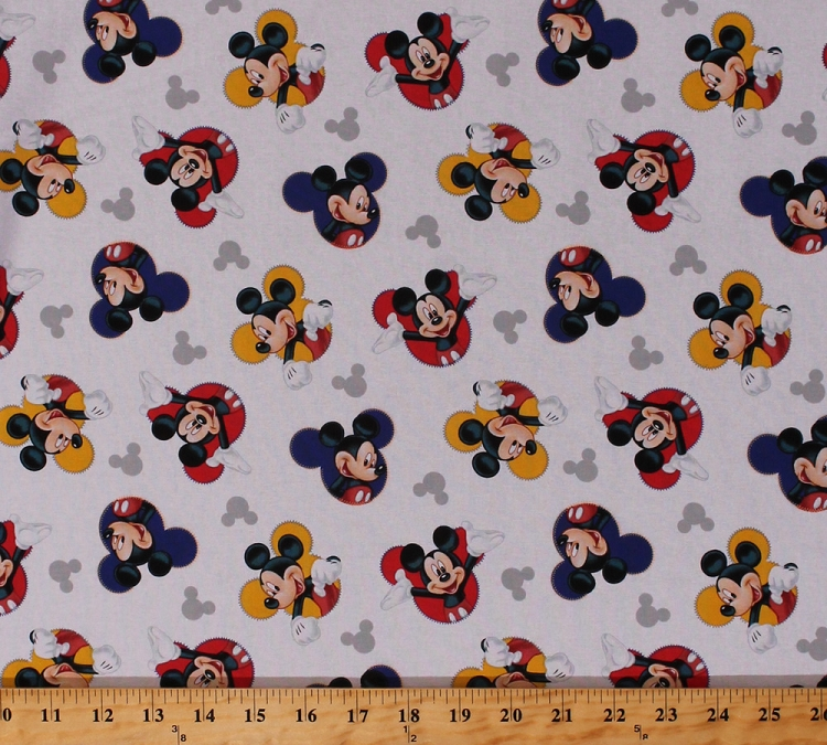 Cotton mickey mouse heads logos icons kids children 39 s for Kids character fabric