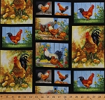 Cotton Chickens Roosters Chicks in Blocks Squares Poultry Hens Farmyard Fowl Barnyard Farming Country Birds Sunflowers Pumpkins Harvest Fall Autumn Scenic Landscape Old Farmstead Cotton Fabric Print by the Yard (8701-099BLACK)