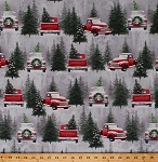 Cotton Christmas Tree Farm Vintage Red Trucks Retro Classic Pickup Truck Pine Trees Firs Christmas Wreaths Winter Snow Snowy Landscape Scenic Holiday Traditions Cotton Fabric Print by the Yard (6541-98)